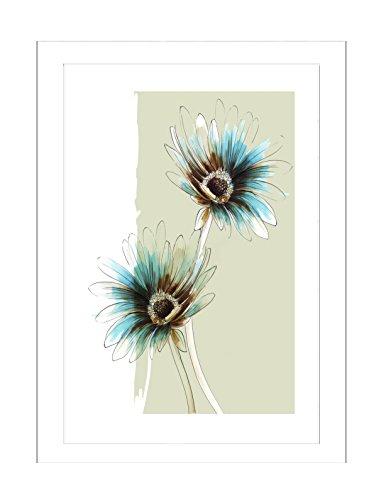 Steve Simpson Design Gerbera Flower 1, Gerbera Flower 1, gerahmter Giclée-Druck, Fine Art Papier, Türkis/Aqua Grün/Karamell / Schokoladenbraun, 78 x 2 x 108 cm - 1 Fine-art-papier
