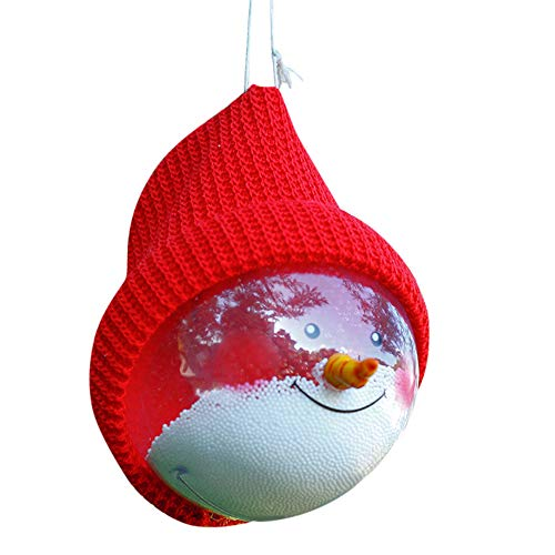 Overdose Mode Frohe Weihnachten Baum Dekoration Ball Weihnachten Schnee Ball Transparente Ball Mit Kappe Clubbing Party Haus Cosplay Ornament (14 * 10cm, M-Rot) (Weihnachten Baum Dekorationen)