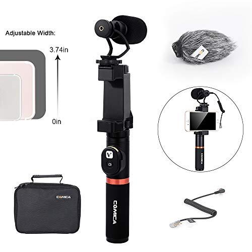 Comica Smartphone-Videokit CVM-VM10-K3 Bluetooth-Fernbedienung Griff mit Nierencharakteristik Shotgun-Videomikrofon Telefon-Video-Rig für iPhone 7/8 Plus X XR Samsung usw. Erweiterbar Video