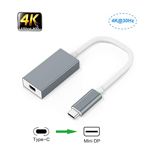 Adaptateur USB C vers Mini DisplayPort/DP, Adaptateur iF-Link Type C vers Mini Displayport (DP) 4K UHD pour Apple MacBook 2015/2016/2017 / Macbook Pro, Dell XPS 12/13/15, HP Windows10