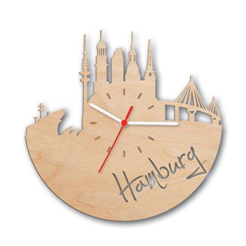 Skyline Hamburg 2017 Wanduhr aus Birken-Holz Made in Germany | Design Uhr aus Echtholz | Wand-Deko aus Birke | Originelle Wand-Uhr | Moderne Wand-Uhr im Skyline Design | Wand-Dekoration aus Natur-Holz (Designer-wand-uhr)