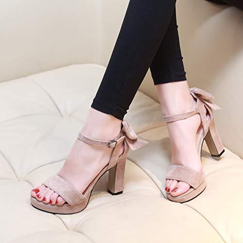 (Yukun Schuhe mit hohen Absätzen Sommer dick mit Sandalen, Plattform, Stöckelschuhe, Bogen, Wort mit offenen Zehensandalen, 34, Aprikose)