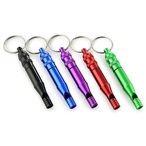 Lot de 5 verschiedenfarbige Aluminium Pilulier avec sifflet d'urgence, étanche Pilulier avec survial Sifflet – Sifflet,, sifflet, mini Capsule, couleurs : vert, rouge, violet, noir, bleu, Ganzoo
