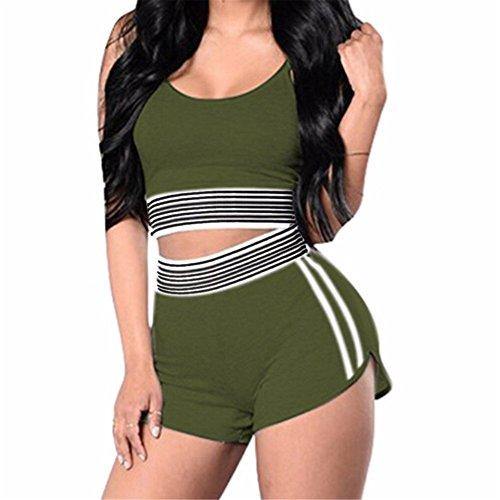 Italily - monopezzi e tutine,tuta sportiva a righe da donna sexy a righe con pantaloncini sportivi a pezzi (green, l)