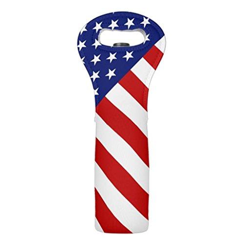 Wein Tote Classic und Cool Patriotische amerikanische Flagge Wein Tasche Neopren Wein Tragetasche Flasche isoliert Wein Flasche Picknick (Tote Coole)