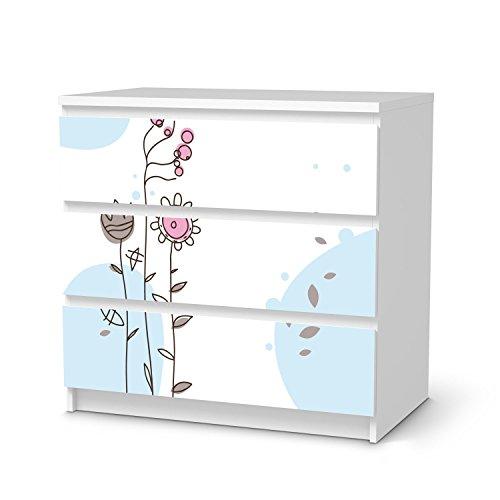 Möbelfolie für IKEA Malm 3 Schubladen | Deko-Folie Klebesticker Tapete Folie Möbel folieren | kreative Wohnideen Wohnzimmer-Dekoration Innendeko | Muster Ornament Flowers 3