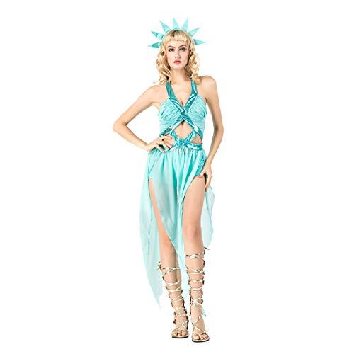 HOOLAZA Damen Hellblau Antike Griechische Göttin Kostüm Sexy und Versuchung Halfter Kleid