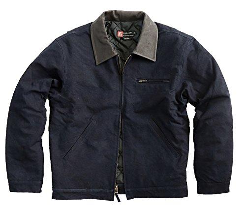 Herren Outdoorjacke Dean Jacket, warm gefüttert mit Lederkragen und Reißverschluss Navy