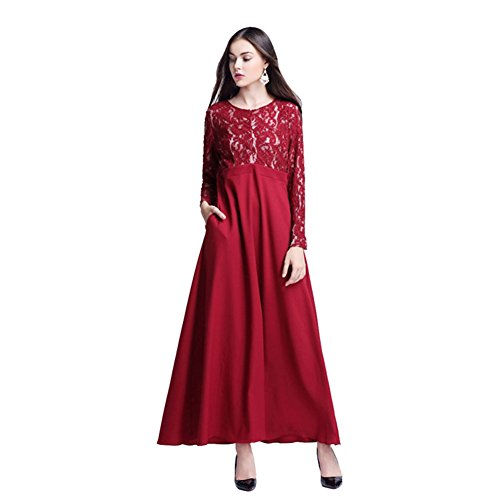 Haodasi Musulman Femme Islamic Dentelle Manche longue Maxi Dress Kaftan Abaya Dress Fête Robes Wine Red