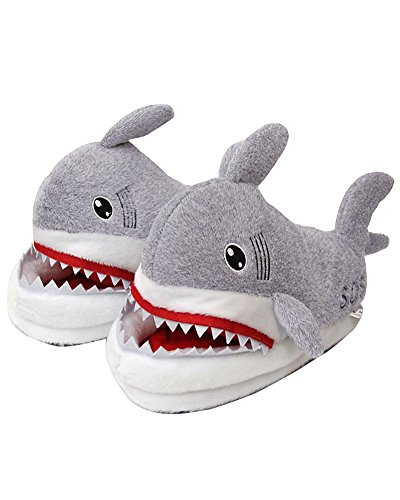 Inverno unisex morbido caldo peluche casa pantofole cartone squalo antiscivolo pattini donna uomo scarpe slippers d grigio eu 35 42
