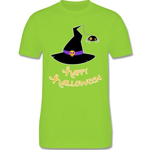 Halloween - Hexenhut Happy Halloween - Herren Premium T-Shirt Hellgrün