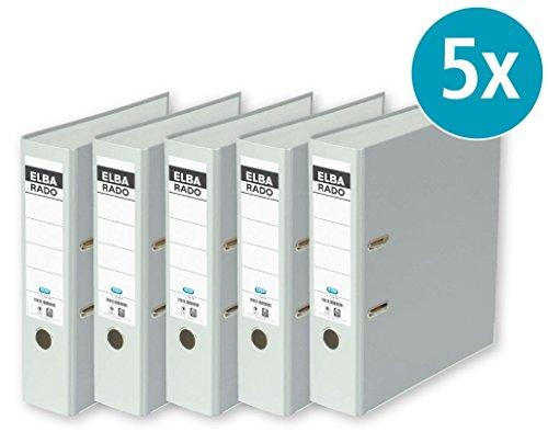 ELBA Ordner rado brillant DIN A4  5er Pack Qualitäts Ringordner Aktenordner Briefordner Büroordner Pappordner Schlitzordner