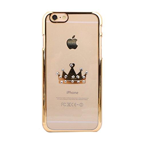 Handy Hülle mit Motiven Glitzer Strass von ZhinkArts für Apple IPhone 6/6S M4 Love Gold M8 Krone Gold