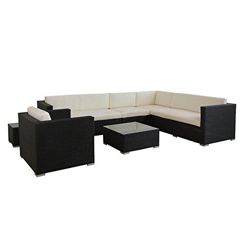 POLY RATTAN AZUR Lounge Gartenset SCHWARZ Sofa Garnitur Polyrattan Gartenmöbel - 2