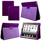 Magnetic Smart Case Cover For Apple ipad 4 / iPad 2 / iPad 3, 2nd, 3rd & 4th Generation with FREE screen protector - Supreme Quality (purple)
