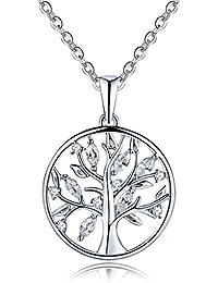 YL Halskette Baum Des Lebens-925 Sterlingsilber Zirkonia Halskette Familienstammbaum mit Anhänger für Frau Mom, Kettenlänge 45-50 cm