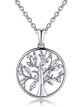 YL Halskette Baum Des Lebens-925 Sterlingsilber Zirkonia Halskette Familienstammbaum mit Anhänger für Frau Mom...