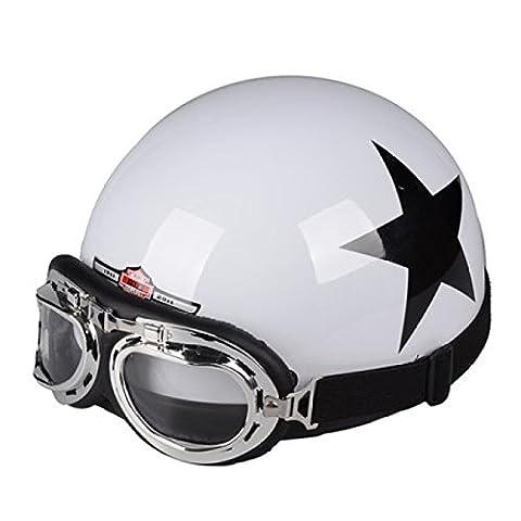TZQ Casque De Moto Lady Open Men Helmet Goggles Half