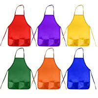 Timagebreze 12 Pack 6 Color Kids Aprons Children Painting Aprons Kids Art Smocks With 2 Roomy Pockets For Kitchen And Classroom (Brushes Not Included)