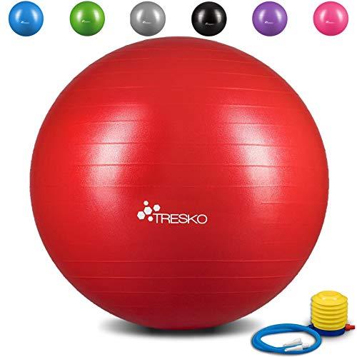TRESKO® Pelota de Gimnasia Anti-Reventones | Bola de Yoga Pilates y Ejercicio | Balón para Sentarse | Balon de Ejercicio para Fitness | 300 kg | con Bomba de Aire | Rojo | 85cm