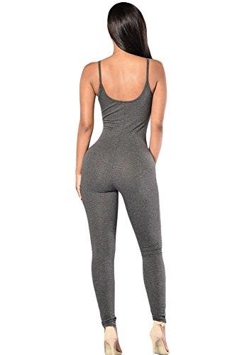 Nueva-mujer-gris-correa-de-espagueti-una-sola-pieza-Skinny-Jumpsuits-Catsuit-Mono-Bodysuit-Club-Wear-ropa-tamao-M-UK-10–12-EU-38–40