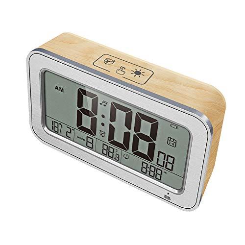 Musik-Wecker Smart Charging Mute Snooze Temperatur Nachtlicht für Schlafzimmer-Schlafzimmer-Nachttischlampe,A