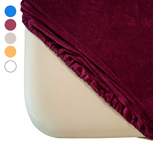 Zen Frottee Spannbezug für Massage-Liegen   passend für 71-81 cm x 185-195 cm   extra weich   waschbar 60°   OEKO TEX 100   für alle gängigen Kosmetik-Tische und Therapie-Bänke (Burgund)