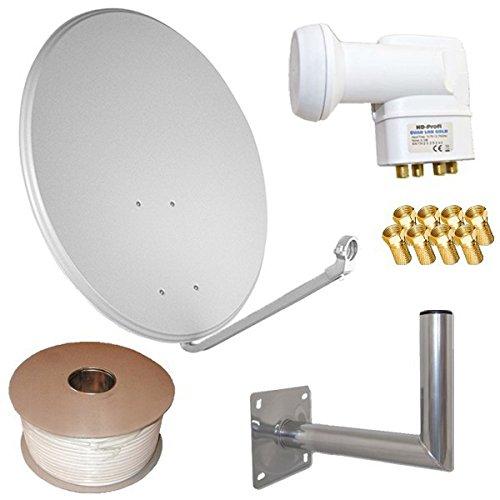 netshop 25 HD Sat Anlage 80cm ALU Spiegel + Quad LNB für 4 Teilnehmer + 50m Kabel + 40cm Wandhalter (3 Farben wählbar)