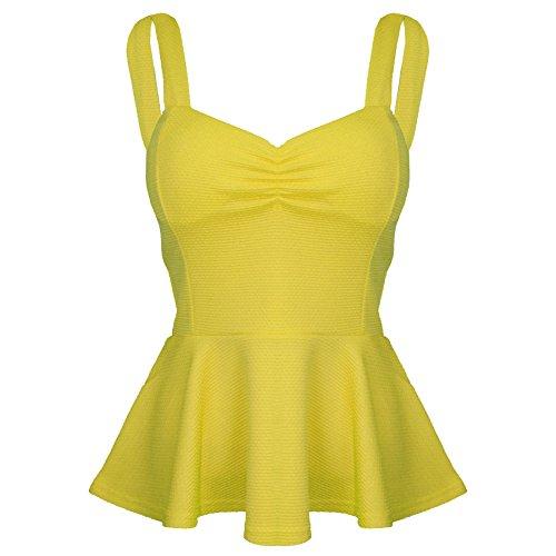 Damen Baggy Passform V Ausschnitt Aufgerollter Ärmel Locker Flügelärmel Top T-shirt Größe 8-14 Gelb