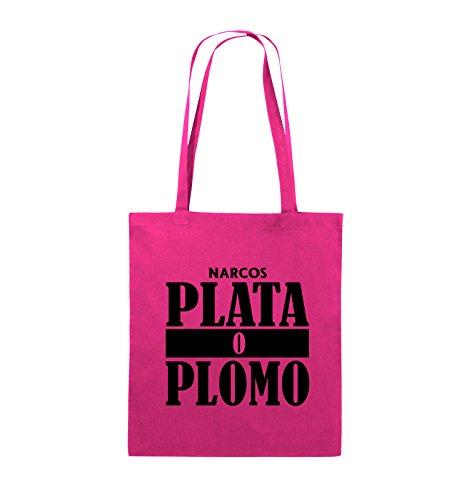 Jutebeutel NARCOS Farbe PLOMO Pink Comedy PLATA Schwarz Schwarz Bags Pink Henkel O lange 38x42cm 4zzIXn
