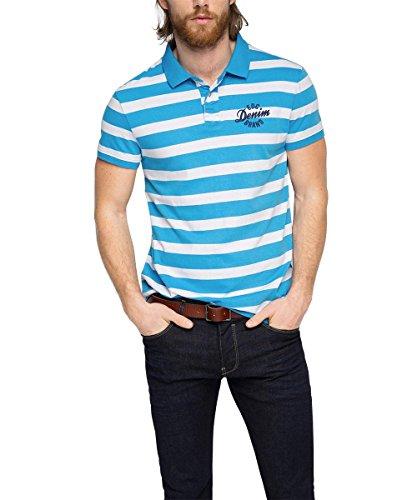 edc by Esprit Stripe Polo-Polo Uomo    Blu (Turquoise) Medium