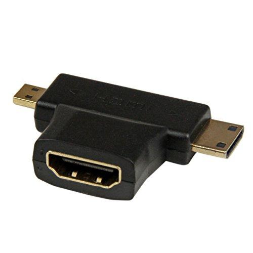 Startech.Com Adattatore Convertitore HDMI a mini/micro HDMI Doppio a T, Connettori Placcati in Oro, Nero