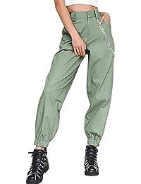 dc8a71873267 Donna Hip Hop Baggy Pantaloni Cargo Pants Sciolto Moda Pantaloni Con Catena