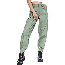 Donna Hip Hop Baggy Pantaloni Cargo Pants Sciolto Moda Pantaloni Con Catena 60c946bc4c9a