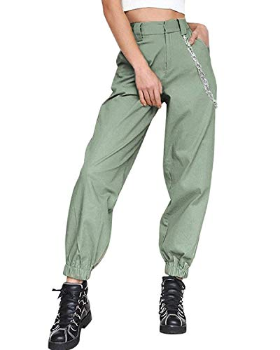 Womens Casual Harem Baggy Hip Hop Hosen Tanz Jogging Sweat Hose Hosen Cool Street Hose + 1PC Kette Armeegrün EU Medium