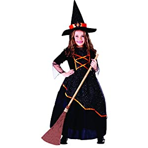 Dress Up America Disfraz de Bruja niña Negro y Naranja