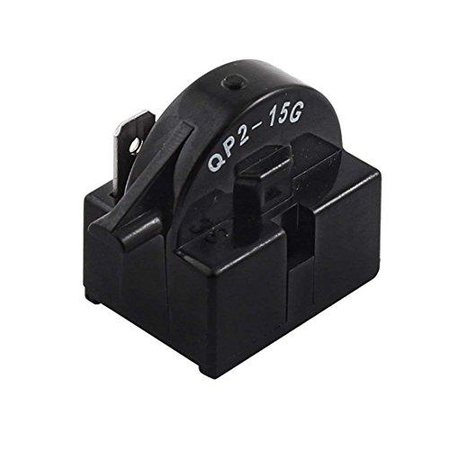 Wuudi Relé de Arranque QP2-15G Carcasa de plástico de un Solo Pin frigorífico PTC relé de Arranque 15 Ohm