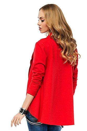 futuro fashion TRENDY COTON VESTE BLAZER Style manches longues asymétrique Fa426 Rouge