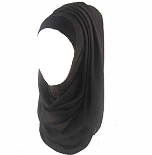 ILOVEDIY Muslim Hijab Viscose Schal islamischen Maxi Schal (Schwarz)