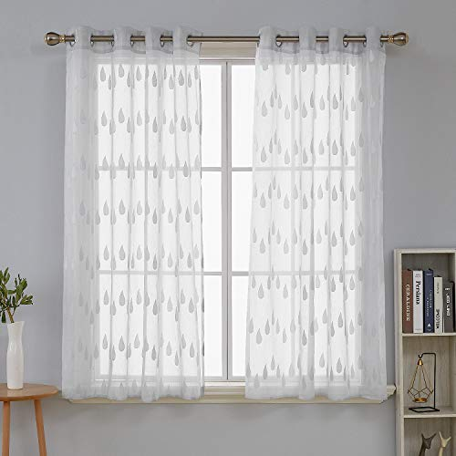 Deconovo tende trasparenti voile ricamate con occhielli per casa moderne grigio 140x180 cm due pannelli