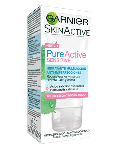 Garnier Skin Active Pure Active Sensitive, Crema Hidratante Facial mujer de Día, Anti-Imperfecciones, para Pieles Sensibles - 50 ml