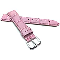 18mm Pink Womens' Alligator Style Genuine Leather Watch Strap Band