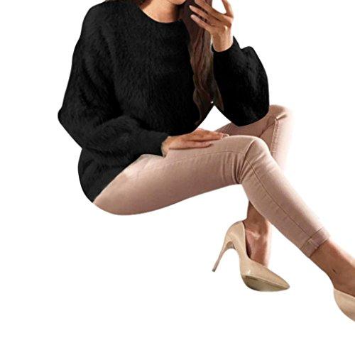 LUCKDE Damen Plüsch Hemden Solide Jerseybluse Langarmshirts Tops, Blusen Poloshirts T Shirts Pullover Jumpsuits Jacken Nachtwäsche Streetwear Sweatshirts Kleider Bekleidungssets (L, Schwarz) (Levis Tag Red)