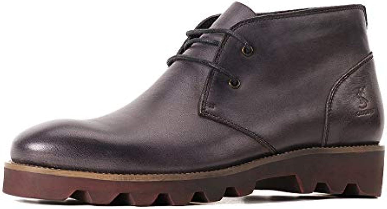 MERRYHE Botas Chukka De Cuero Genuino para Hombre Botas Martin Vintage con Cordones Desert Calzado Zapatos Antideslizantes...