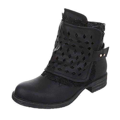 Western- & Bikerboots Damen-Schuhe Biker Boots Blockabsatz Blockabsatz Reißverschluss Ital-Design Stiefeletten Schwarz, Gr 39, 8897Sl-