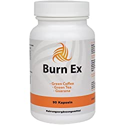 Burn Ex, Grüner Kaffee Extrakt mit Chlorogensäure , 90 grüner Kaffee Kapseln in Premiumqualität, 1800 mg grüner Kaffee Extrakt + Grüner Tee + Guarana, 1er Pack (1x 79g)