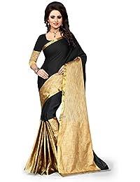 J B Fashion Women'S Poly Cotton Saree With Blouse Piece (D-Aura Black_Black)