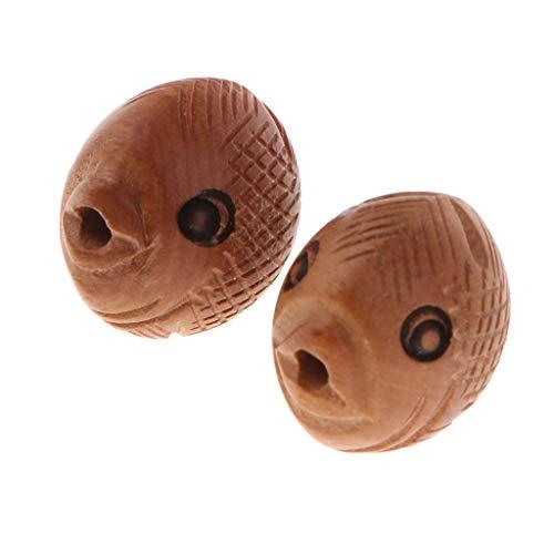 chiwanji 2 Stück Fisch Formen Natürliche Holz Perlen Holzperlen Lose Perlen für DIY Schmuck Herstellung Halskette