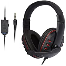 LESHP Gaming Headset – Cascos auriculares Stereo con micrófono para PC (ultrabass, cancelación ruido, diadema acolchada y ajustable, micrófono plegable, ergonómico, control de volumen, jack simple 3.5 mm) para Sony PS4 pc tablet portátil Smartphone Xbox One
