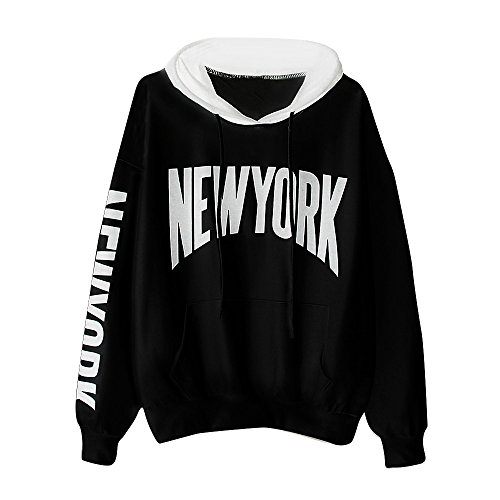 "Sudadera con capucha para mujer con bolsillo, LILICAT Blusa de manga larga impresa con letra ""NEW YORK"", Tops Ropa Deportiva Negro + Blanco (XL, Negro)"